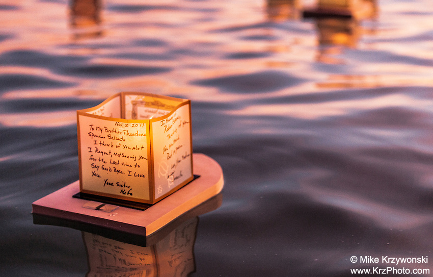 Candle floating in the water at the 15th annual lantern floating ceremony at Ala Moana Beach Park  on Memorial Day
