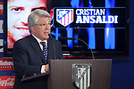 Atletico de Madrid´s President Enrique Cerezo during Cristian Ansaldi´s presentation as a new Atletico de Madrid´s new player at Vicente Calderon stadium in Madrid, Spain. August 18, 2014. (ALTERPHOTOS/Victor Blanco)