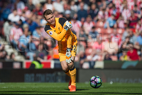April 8th 2017, bet365 Stadium, Stoke on Trent, Staffordshire, England; EPL Premier League football, Stoke City versus Liverpool; Liverpool goalkeeper Simon Mignolet throws the ball to a team mate to get the game going again