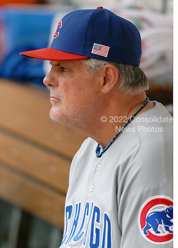 Washington, D.C. - July 4, 2007 -- Chicago Cub manager Lou Piniella (41) watches his team prepare to bat in the top of the first inning aganst the Washington Nationals at RFK Stadium in Washington, D.C. on Wednesday, July 4, 2007.  The Cubs lost the game 6 - 0..Credit: Ron Sachs / CNP
