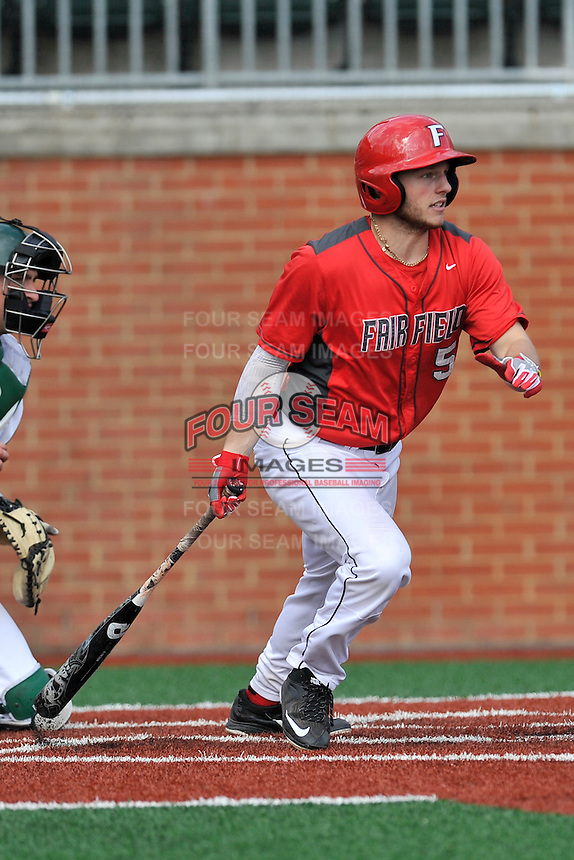 Left fielder Troy Scocca (5) of the Fairfield Stags bats in a game against the Charlotte 49ers on Saturday, March 12, 2016, at Hayes Stadium in Charlotte, North Carolina. (Tom Priddy/Four Seam Images)