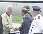 Bill Clinton pictured upon arrival at Kerry Airport on Sunday morning and is welcomed to Ireland by Kerry Airport Manager Peter Moore .<br />