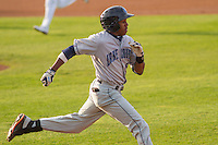 Lake County Captains outfielder Greg Allen (6) runs to first base during a Midwest League game against the Wisconsin Timber Rattlers on June 3rd, 2015 at Fox Cities Stadium in Appleton, Wisconsin. Wisconsin defeated Lake County 3-2. (Brad Krause/Four Seam Images)