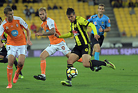 Andrija Kaludjerovic in action during the A-League football match between Wellington Phoenix and Brisbane Roar at Westpac Stadium in Wellington, New Zealand on Sunday, 25 January 2018. Photo: Dave Lintott / lintottphoto.co.nz