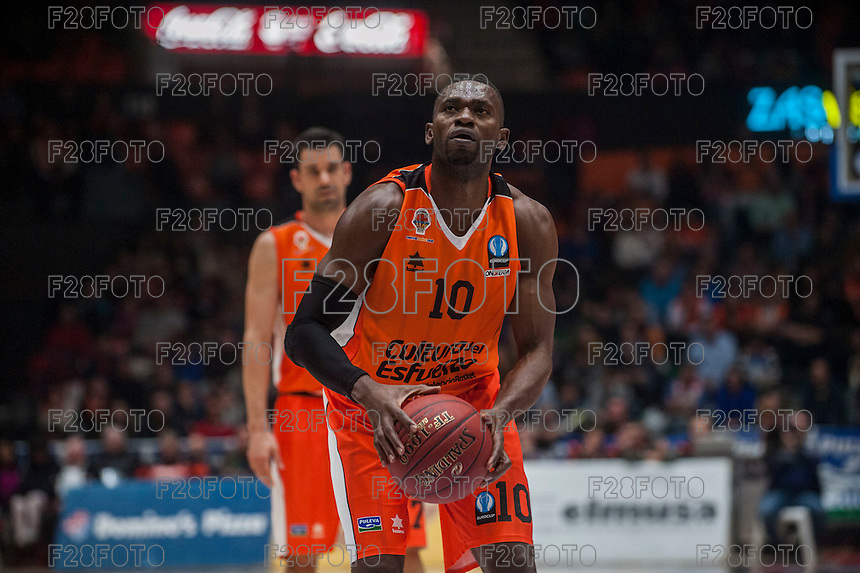 VALENCIA, SPAIN - December 2: Romain Sato during EUROCUP match between Valencia Basket Club and Ratiopharm ULM at Fonteta Stadium on December 2, 2015