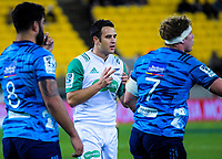 Referee Ben O'Keefe during the Super Rugby match between the Hurricanes and Blues at Westpac Stadium in Wellington, New Zealand on Saturday, 7 July 2018. Photo: Dave Lintott / lintottphoto.co.nz