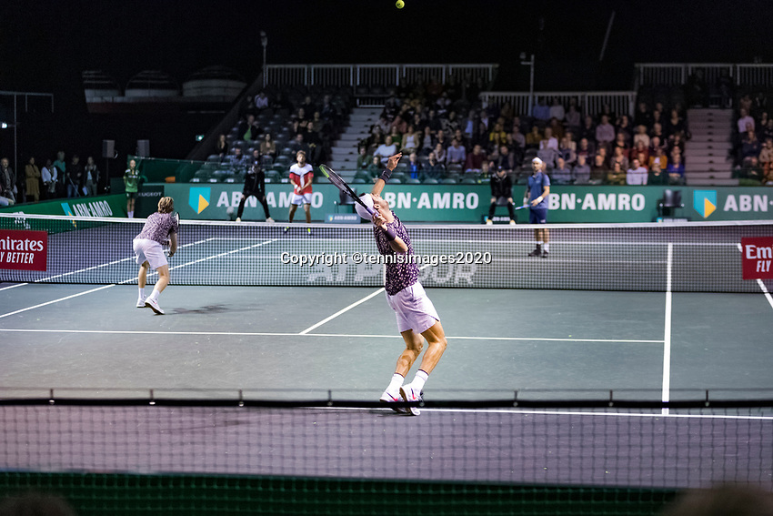 Rotterdam, The Netherlands, 9 Februari 2020, ABNAMRO World Tennis Tournament, Ahoy, Doubles: Karen Khachanov (RUS) and Andrey Rublev (RUS), Fabio Fognini (ITA) and Robin Haase (NED).<br /> Photo: www.tennisimages.com