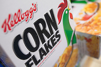 "A Kellogg's Corn Flakes cereal box is seen in a Metro grocery store in Quebec city March 4, 2009. Selective focus on ""Corn Flakes""."