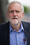 © Joel Goodman - 07973 332324 . 23/07/2016 . Salford , UK . Jeremy Corbyn outside the Lowry Centre after launching his campaign to be re-elected Labour Party leader , at the Lowry Theatre at Salford Quays . Photo credit : Joel Goodman