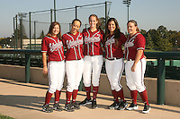 1 November 2007: Autumn Albers, Ashley Chinn, Melisa Koutz, Erikka Moreno, and Brittany Minder on picture day at Boyd and Jill Smith Family Stadium in Stanford, CA.