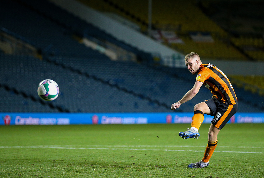 Hull City's Daniel Batty scores his penalty<br /> <br /> Photographer Alex Dodd/CameraSport<br /> <br /> Carabao Cup Second Round Northern Section - Leeds United v Hull City -  Wednesday 16th September 2020 - Elland Road - Leeds<br />  <br /> World Copyright © 2020 CameraSport. All rights reserved. 43 Linden Ave. Countesthorpe. Leicester. England. LE8 5PG - Tel: +44 (0) 116 277 4147 - admin@camerasport.com - www.camerasport.com