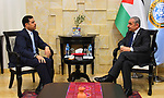 Palestinian Prime Minister Mohammad Ishtayeh, meets with Jordanian Ambassador to Palestine Mohammed Abu Wandi, in the West Bank city of Ramallah, April 17, 2019. Photo by Prime Minister Office