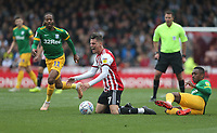 Brentford's Sergi Canos is taken down by Preston North End's Darnell Fisher<br /> <br /> Photographer Rob Newell/CameraSport<br /> <br /> The EFL Sky Bet Championship - Brentford v Preston North End - Sunday 5th May 2019 - Griffin Park - Brentford<br /> <br /> World Copyright © 2019 CameraSport. All rights reserved. 43 Linden Ave. Countesthorpe. Leicester. England. LE8 5PG - Tel: +44 (0) 116 277 4147 - admin@camerasport.com - www.camerasport.com
