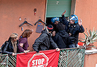 Rome, Italy. 16th February 2016<br /> The Riot police  enter the apartmentof the Mrs. Ida with her husband and executes the eviction, to Centocelle district.