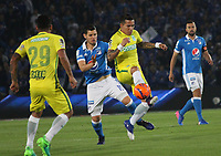 BOGOTA -COLOMBIA, 7-04-2017.Dayro Moreno player of Atletico Nacional  (R)  fights the ball against Pedro Franco (L)  player of Millonarios . Action game between  Millonarios  and Atletico Nacional during match for the date 12 of the Aguila League I 2017 played at Nemesio Camacho El Campin stadium . Photo:VizzorImage / Felipe Caicedo  / Staff