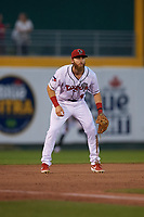 Lansing Lugnuts third baseman Johnny Aiello (4) during a Midwest League game against the Burlington Bees on July 18, 2019 at Cooley Law School Stadium in Lansing, Michigan.  Lansing defeated Burlington 5-4.  (Mike Janes/Four Seam Images)