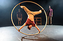 Edinburgh, UK. 08.08.2015. Barely Methodical Troupe presents BROMANCE, in the Beauty, part of the new Underbelly Circus Hub on the Meadows, during Edinburgh Festival Fringe. Picture shows: Charlie Wheeler (Cyr Wheel), Beren D'Amico, Louis Gift. Photograph © Jane Hobson