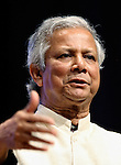 Bangladesh economist and founder of the Grameen Foundation Muhammad Yunus speaks in Tokyo, Japan.