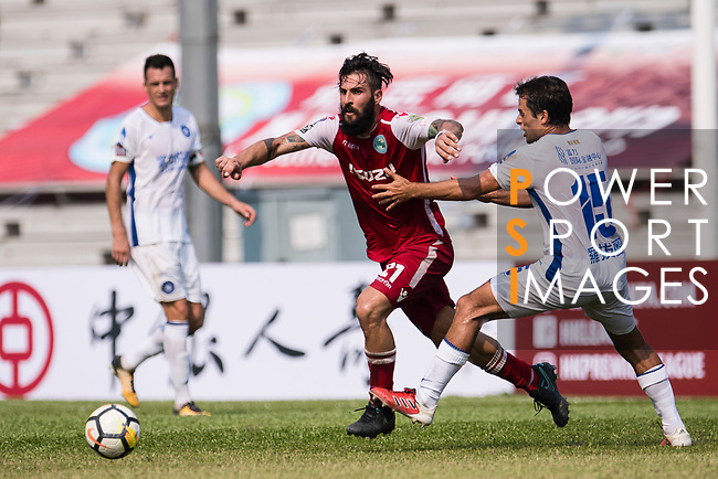 Marcos De La Espada of Kwoon Chung Southern (C) in action against Roberto Affonso R&F F.C (R) during the week three Premier League match between Kwoon Chung Southern and R&F at Aberdeen Sports Ground on September 16, 2017 in Hong Kong, China. Photo by Marcio Rodrigo Machado / Power Sport Images