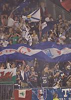 Fans celebrate New England Revolution third goal. New England Revolution defeated Toronto FC, 3-0, at Gillette Stadium on June 23, 2007.