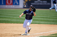 Binghamton Rumble Ponies first baseman Peter Alonso (16) waits to receive a throw at first base during a game against the Altoona Curve on June 14, 2018 at NYSEG Stadium in Binghamton, New York.  Altoona defeated Binghamton 9-2.  (Mike Janes/Four Seam Images)