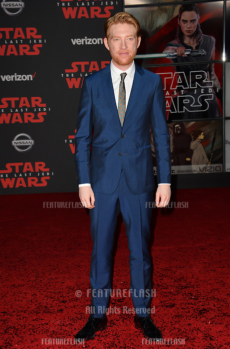 "Domhnall Gleeson at the world premiere for ""Star Wars: The Last Jedi"" at the Shrine Auditorium. Los Angeles, USA 09 December  2017<br /> Picture: Paul Smith/Featureflash/SilverHub 0208 004 5359 sales@silverhubmedia.com"