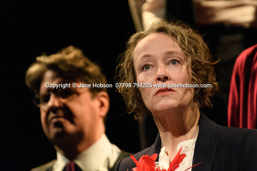 "London, UK. 02.03.2017. The National Theatre presents ""My Country; a work in progress"", in the words of people across the UK and Carol Ann Duffy, in the Dorfman. Rufus Norris directs. Design is by Katrina Lindsay, lighting design by Paul Knott. Picture shows:  Front: Penny Layden; Left: Stuart McQuarrie. Photograph © Jane Hobson."