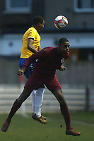 Jaden Thompson-Brissett of Woodford Town and John Lye of Leyton Athletic during Leyton Athletic vs Woodford Town, Essex Senior League Football at Wadham Lodge Sports Ground on 1st December 2018