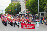 Port Townsend, Rhododendron Festival, 78th Annual, Grand Parade, wends through Uptown on Lawrence Street, Jefferson County, Washington State, Pacific Northwest, USA,