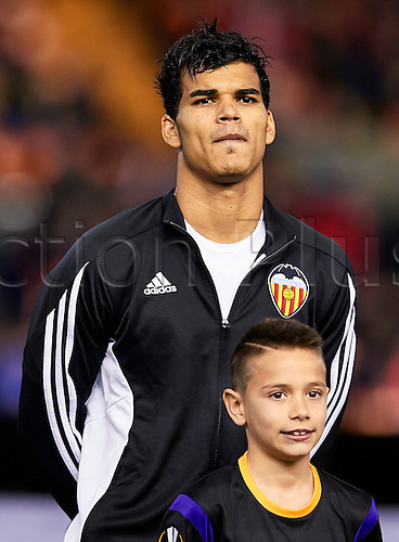 18.02.2016. Mestalla Stadium, Valencia, Spain. Europa League. Valencia versus Rapid Wien. Midfielder Danilo Barbosa of Valencia CF looks  on