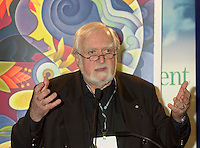 April 10, 2002,Quebec, Quebec, Canada<br /> Jacques Languirand, host of a vulgarisation TV show, speak at a press conference for the upcoming Earth Day, at the  Environmental Technologies Trade Show, in Quebec City, april 10. 2002.<br /> <br /> In Quebec City, the Earth Day will feature a concert with local artist Jim Corcoran and others, as well as many types of special activities to sensibilize people to the urgency of the pollution / envionment problem.