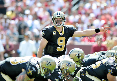 Landover, MD - September 14, 2008 -- New Orleans Saints quarterback Drew Brees (9) calls signals in the second quarter against the Washington Redskins at FedEx Field in Landover, Maryland on Sunday, September 14, 2008..Credit: Ron Sachs / CNP.(RESTRICTION: NO New York or New Jersey Newspapers or newspapers within a 75 mile radius of New York City)