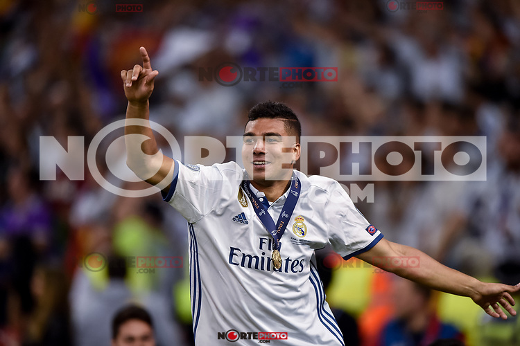 Casemiro of Real Madrid celebrates the winning of the Champions League during the UEFA Champions League Final match between Real Madrid and Juventus at the National Stadium of Wales, Cardiff, Wales on 3 June 2017. Photo by Giuseppe Maffia.<br /> <br /> Giuseppe Maffia/UK Sports Pics Ltd/Alterphotos /nortephoto.com
