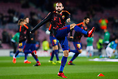 5th December 2017, Camp Nou, Barcelona, Spain; UEFA Champions League football, FC Barcelona versus Sporting Lisbon; Aleix Vidal of FC Barcelona warm ups before the match