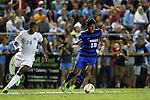 19 September 2014: Duke's Luis Rendon (10) and North Carolina's Omar Holness (JAM) (14). The Duke University Blue Devils hosted the University of North Carolina Tar Heels at Koskinen Stadium in Durham, North Carolina in a 2014 NCAA Division I Men's Soccer match. Duke won the game 2-1.