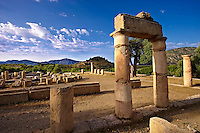 The 1st cent B.C Terrace Temple dedicated to Zeus Soteros  and round sanctuary dating back to the 5th cent B.C and dedicated to the god King Basileus Kaunios, the son of Apollo's son Miletos and the water nymph Kyanee, . Archaeological site of  Kaunos (Caunos), Dalyan Turkey