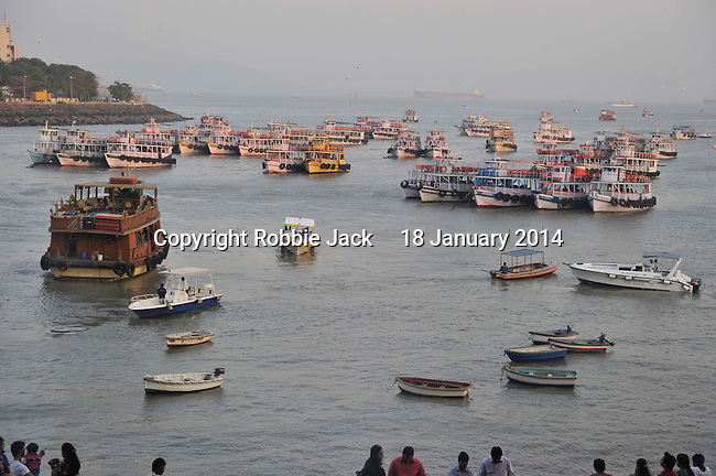 Boats in the harbour at the Gateway of India in Mumbai.Maharashtra.