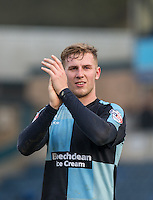 Jason McCarthy of Wycombe Wanderers applauds the support during the Sky Bet League 2 match between Wycombe Wanderers and Stevenage at Adams Park, High Wycombe, England on 12 March 2016. Photo by Andy Rowland/PRiME Media Images.
