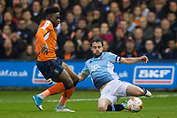 Blackpool's Andy Taylor slides in for a tackle<br /> <br /> Photographer Craig Mercer/CameraSport<br /> <br /> The EFL Sky Bet League Two Play-Off Semi Final Second Leg - Luton Town v Blackpool - Thursday 18th May 2017 - Kenilworth Road - Luton<br /> <br /> World Copyright &copy; 2017 CameraSport. All rights reserved. 43 Linden Ave. Countesthorpe. Leicester. England. LE8 5PG - Tel: +44 (0) 116 277 4147 - admin@camerasport.com - www.camerasport.com
