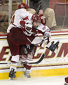 Bill Arnold (BC - 24), Troy Power (UMass - 20) - The Boston College Eagles defeated the visiting University of Massachusetts-Amherst Minutemen 2-1 in the opening game of their 2012 Hockey East quarterfinal matchup on Friday, March 9, 2012, at Kelley Rink at Conte Forum in Chestnut Hill, Massachusetts.