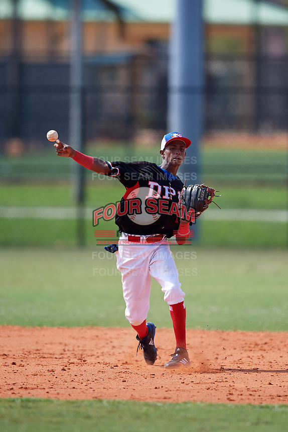 Reyson Miranda (2) during the Dominican Prospect League Elite Florida Event at Pompano Beach Baseball Park on October 15, 2019 in Pompano beach, Florida.  (Mike Janes/Four Seam Images)