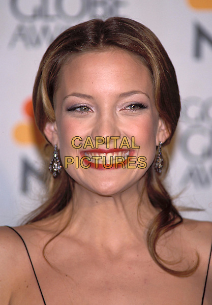 KATE HUDSON ..Golden Globe Awards 2001..Golden Globes..portrait headshot, spaghetti straps, spagetti..sales@capitalpictures.com..www.capitalpictures.com..©Capital Pictures