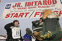 Rohn Buser  finish line  Jr. Iditarod 2006