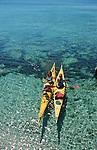 Descente des cotes corses (depuis les calanques de Piana vers Porto jusqu'à Bonifacio. Raid de 10 jours en kayak  de mer en bivouaquant sur les plages. Corse (cote ouest). France..