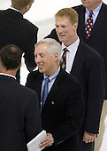 Kurt Kleinendorst (US - Head Coach), Jerry York (BC - Head Coach), Greg Brown (BC - Assistant Coach) - The Boston College Eagles defeated USA Hockey's National Team Development Program's Under 18 team 6-3 on Friday, October 9, 2009 at Conte Forum in Chestnut Hill, Massachusetts.