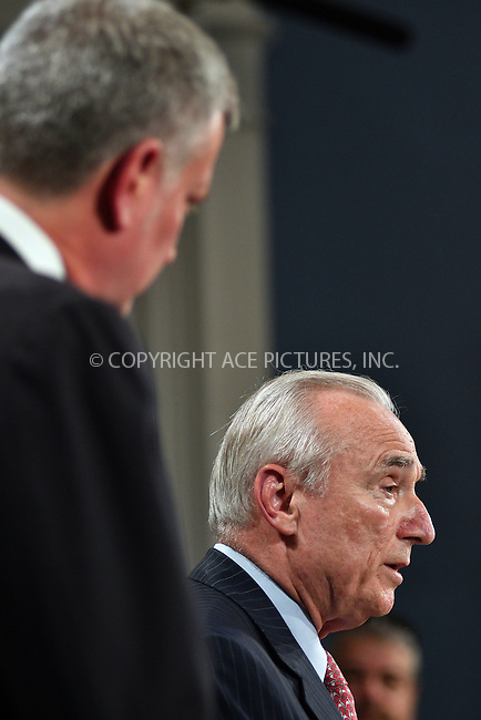 www.acepixs.com<br /> <br /> August 2 2016, New york City<br /> <br /> Mayor Bill de Blasio (L) and New York City Police Commissioner Bill Bratton attending a news conference where it was announced that Bratton has resigned and will be succeeded by O'Neil as Police Commissioner on August 2, 2016 in New York City. <br /> <br /> <br /> By Line: Curtis Means/ACE Pictures<br /> <br /> <br /> ACE Pictures Inc<br /> Tel: 6467670430<br /> Email: info@acepixs.com<br /> www.acepixs.com