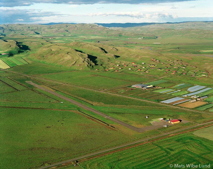 BIFL Flúðir flugvöllur séð til norðausturs, Hrunamannahreppur /.BIFL Fludir airport viewing northeast, Hrunamannahreppur.