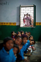 Indian schoolchildren in a classroom in the Moradabad district of the northern Indian state of Uttar Pradesh on the 15th of February 2011.