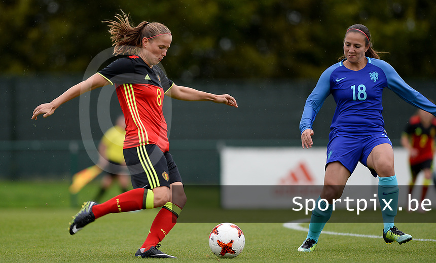 20170914 - TUBIZE ,  BELGIUM : Belgian Lenie Onzia (left) pictured with Dutch Vanity Lewerissa (r) during the friendly female soccer game between the Belgian Red Flames and European Champion The Netherlands , a friendly game in the preparation for the World Championship qualification round for France 2019, Thurssday 14 th September 2017 at Euro 2000 Center in Tubize , Belgium. PHOTO SPORTPIX.BE | DAVID CATRY