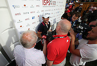 Media interview for Gregory Bourdy (FRA), the winner of the 2013 ISPS Handa Wales Open from the Celtic Manor Resort, Newport, Wales. Picture:  David Lloyd / www.golffile.ie